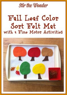Fall Leaf Color Sort Felt Mat   Stir the Wonder