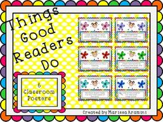 6 colorful posters for your classroom that will remind your students what good readers do