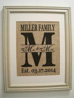 Burlap Monogram Print,Burlap Art, Burlap Wedding Gift, Burlap Initial, Save the Date, Marriage Date, Est Date, Burlap Wedding Date