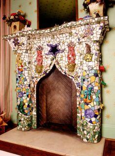 bellami design, idea, mosaics, fireplaces, mosaic fireplac, artsi mosaic, bohogypsi style, bohemian gypsi, artist inspir