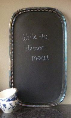 Chalk board tray. Cute idea.