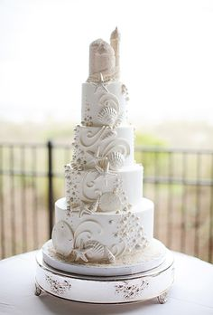 Four Tier Wedding Cake with Seashells