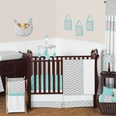 Sweet Jojo Designs Zig Zag Crib Bedding Collection in Turquoise/Grey - buybuyBaby.com