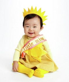 60 Fun and Easy DIY Halloween Costumes Your Kids Will Love... Little Miss Sunshine.... This may be my Little Sunshine's costume this year. Just need to modify it for a 3-4 year old!