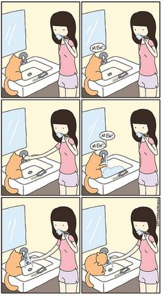 lol I have to fix the faucet in the bathtub to where it runs juuuust a little bit and juuuust right, for my kitties. ^_^;;