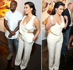 Kim Kardashian and Kanye West attend the William Turner Gallery wearing matching cream outfits