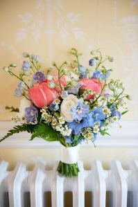 What a gorgeous blue and coral bouquet!