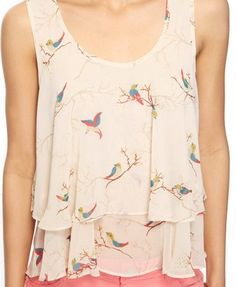 Small Bird Pattern Top