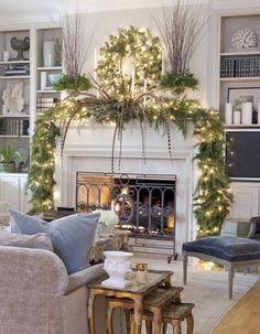 White Modern Christmas Fireplaces Decoration Ideas 23 Mantel Christmas Fireplaces Decoration Ideas