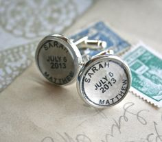 "For the groom:  personalized ""postmark"" cufflinks with names and date ~ comes with matching postmark gift tin / by CrowBiz, $35.00"