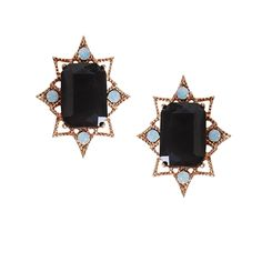 These gold-tone crystal earrings are embellished with opalescent jewels.