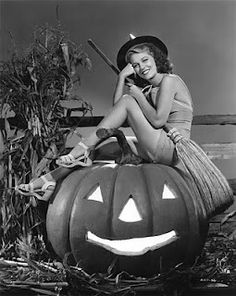 Retro halloween witch pin-up. Her smile is gorgeous!