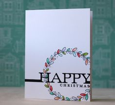 Happy Christmas Card by Laura Bassen for Papertrey Ink (November 2013)