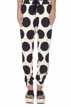 Dot print track pant natural with blk dot   bassike