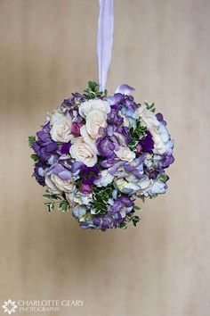 Flower girl\\'s pomander kissing ball with purple and blue flowers