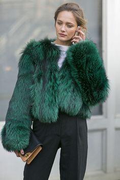 perfect holiday coat - green fur (via @POPSUGARFashion)