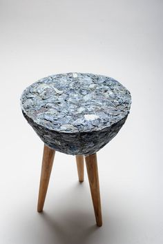Using a new material called Demodé and wasted textile from factories in Santiago, Chile, Bernardita Marambio B. / Pecas created this stool called Fase #3.