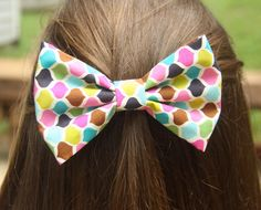 Geometric Pattern Hair Bow by LittleeBowtique on Etsy, $4.00