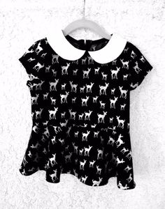 Black and White Deer Silhouette Peplum Top by simplicitycouture