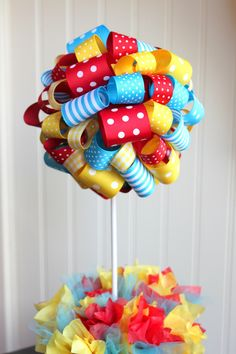Ribbon Topiary in Red, Turquoise and Yellow Perfect for Max and Ruby or Dr. Seuss.