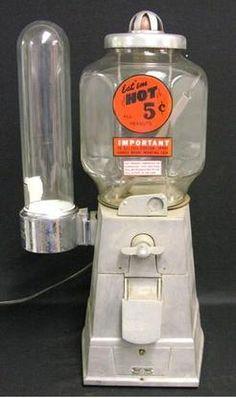 Asco, Peanut, Aluminum Case, Cup Dispenser, 5 Cent. An ASCO Hot Nut 5 Cent Peanut vendor with side mount cup dispenser