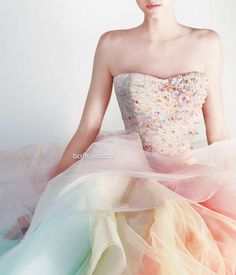 wedding dressses, fashion, cotton candy, color, pastel weddings