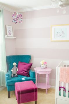 Beautifully-styled nursery with pops of #coolberry that we can't get enough of! #BRITAXStyle