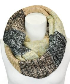 Look at this #zulilyfind! Gray Textural Color Block Knit Infinity Scarf by Leto Collection #zulilyfinds  It's mine now!