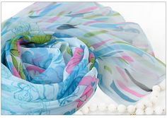 chiffon scarf for summer with butterfly
