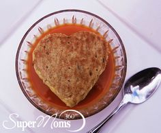 Warm Heart Tomato Soup with Grilled Cheese - This easy Valentine's Day recipe is a perfectly healthy way to warm your kids' hearts on a cold day. Tags: Valentine's Day Recipes for Kids | Valentine's Day Treats | Easy Valentine's Day Recipes