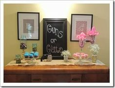Guns or Glitter?! Gender Reveal Party with all DIY decorations and a balloon drop for the reveal!
