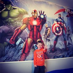 #RoomMates' fan Scott's solution to his son being afraid of the dark. Fill the room with super heroes! Stay safe with our Avengers #Mural.