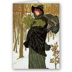 Art Nouveau Christmas Card  Beautiful Christmas cards from time gone by.  Make your Holidays special with an old fashion Christmas Card. Art Nouveau Seasons greetings. Vintage Christmas Cards from an era gone by, lovingly restored.