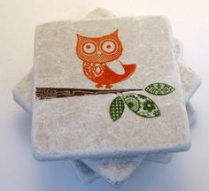 Owl Stamped Tile Coaster Set, Orange
