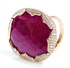 Rough-cut ruby and scalloped diamond ring in pink gold by Nina Runsdorf