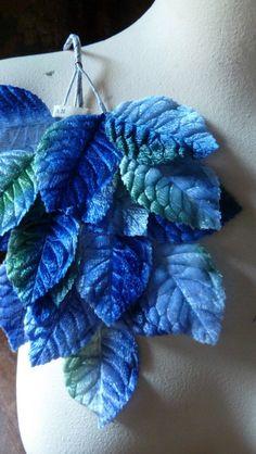Vintage Velvet Millinery Leaves, Blue