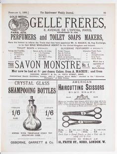 Vintage hair ad dating back to the 1885 - glass shampooing bottles, haircutting scissors and luxury soaps.