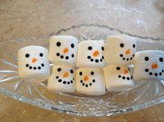 chocolates, marker, food, cocoa, christmas treats, holiday treat, snowman marshmallows, kid, marshmallow treats