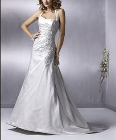 Aline Satin Gown With Halter And Applique