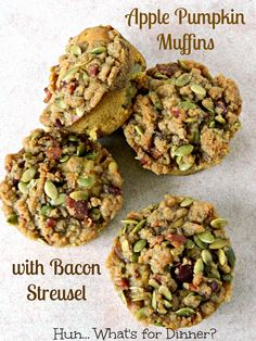 Hun... What's for Dinner?: Apple Pumpkin Muffins with Bacon Streusel- #CrazyIngredientChallenge