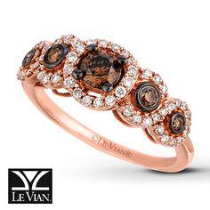 LeVian Chocolate Diamonds 3/4 ct tw Ring 14K Strawberry Gold