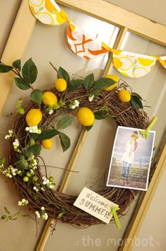 DIY summer lemon wreath made on a grapevine wreath