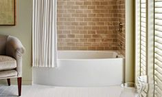 Pretty tile and wall color in this bathroom. Very serene!