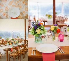 Colorful low flower arrangements accent the wooden farm tables perfectly. Mandy Scott Flowers.