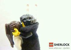 Sherlock & Molly kissing lego. I would totally glue them together like that and put them on a shelf...