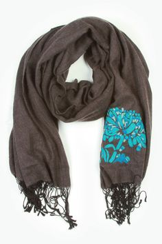 Kenzo Flower Silk & Cashmere Shawl In Charcoal & Teal
