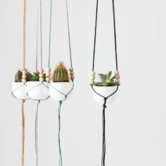 mini hanging planter with cup - macrame planter - modern plant holder - minimalist - string - home decor. $25.00, via Etsy.