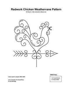 Redwork-Chicken-Weathervane-Pattern and how to. Modelo y explicaciones de cómo bordarlo. Tutorial.