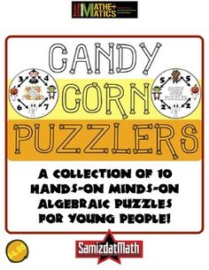 This is a collection of 10 candy corn puzzles that you can print in color, cut out and put onto plates. The student takes the indicated number of pieces of candy corn and distributes them on each character so that the the sum of two adjacent characters comes out to the arrow connecting them.