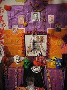 Dia de los Muertos Altar with Papel Picado by Willowfan, via Flickr